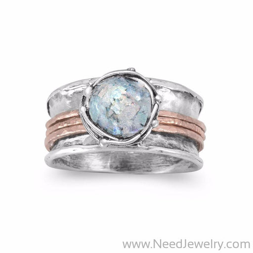 Two Tone Roman Glass Spin Ring-Rings-Needjewelry.com
