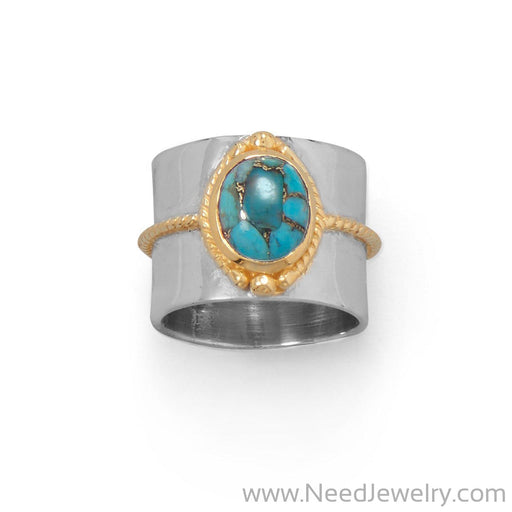 Two Tone Rope Edge Turquoise Ring-Rings-Needjewelry.com