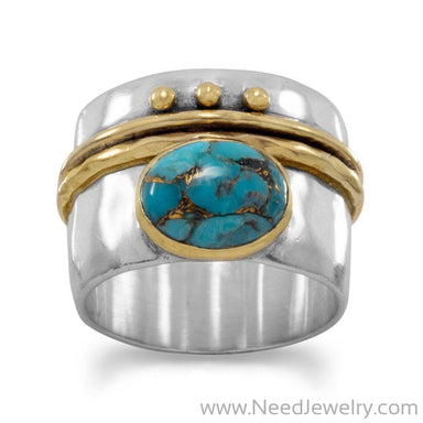 Two Tone Stabilized Turquoise Ring-Rings-Needjewelry.com