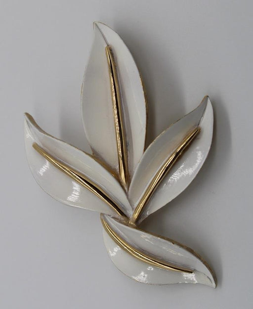 Vintage Pre-owned White Gold Leaf Brooch-Pins-Needjewelry.com