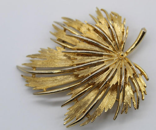 Multi-dimensional Gold Tone Leaf Brooch-Pins-Needjewelry.com