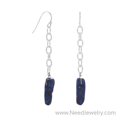 Silver Tone Lapis Spike Drop Earrings-Earrings-Needjewelry.com