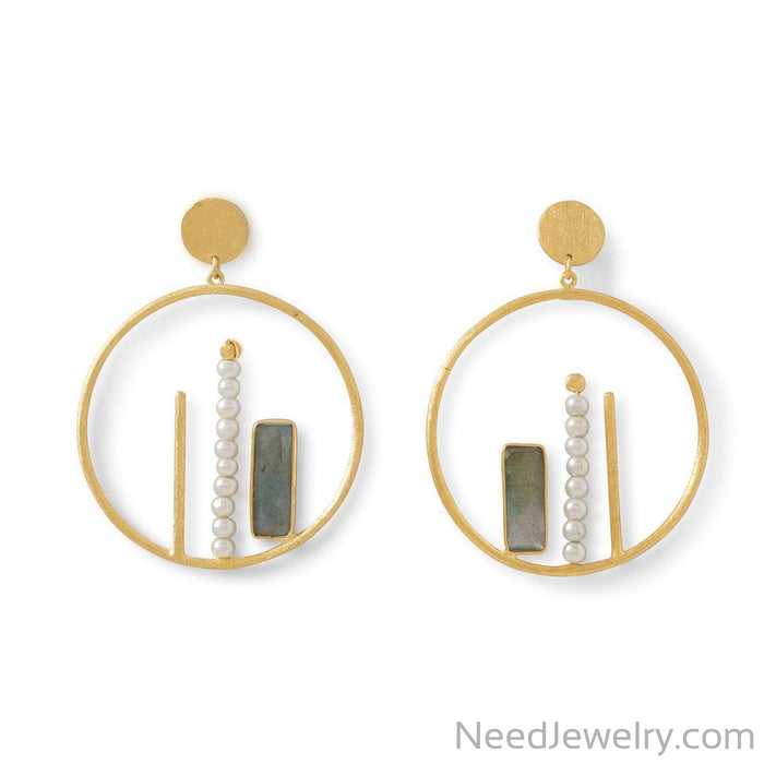 14 Karat Gold Plated Brass Labradorite and Cultured Freshwater Pearl Fashion Earrings-Earrings-Needjewelry.com