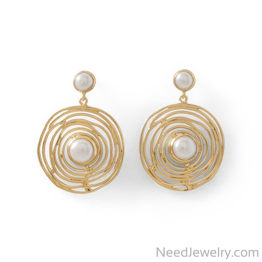 14 Karat Gold Plated Brass Cultured Freshwater Pearl Fashion Earrings-Earrings-Needjewelry.com