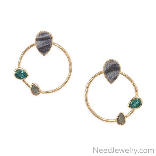 14 Karat Gold Plated Brass Multi Stone Fashion Earrings-Earrings-Needjewelry.com