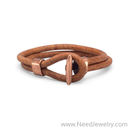 "9"" Men's Leather and Copper Bracelet-Bracelets-Needjewelry.com"