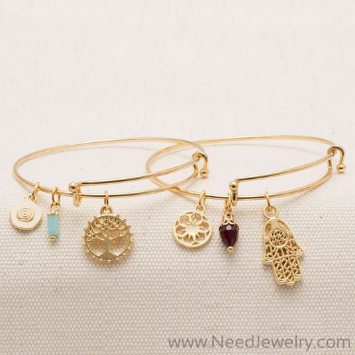Expandable Gold Tone Tree Charm Fashion Bangle Bracelet-Bracelets-Needjewelry.com