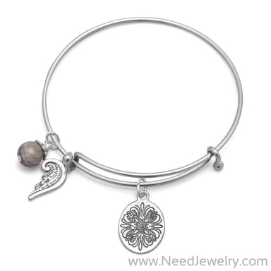 Expandable Angel Wing Charm Fashion Bangle Bracelet-Bracelets-Needjewelry.com