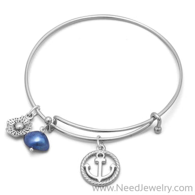 Expandable Anchor Charm Fashion Bangle Bracelet-Bracelets-Needjewelry.com