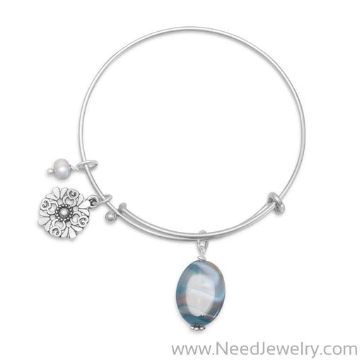 Expandable Blue Agate Fashion Bangle Bracelet-Bracelets-Needjewelry.com