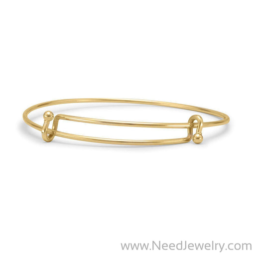 Gold Tone Expandable Wire Fashion Bangle-Bracelets-Needjewelry.com