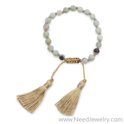 Adjustable Matte Finish Amazonite Fashion Tassel Bracelet-Bracelets-Needjewelry.com