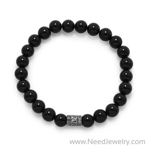 Black Onyx Bead Fashion Stretch Bracelet-Bracelets-Needjewelry.com