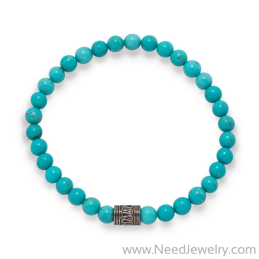 Blue Magnesite Fashion Stretch Bracelet-Bracelets-Needjewelry.com