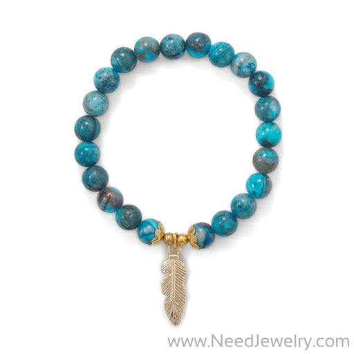 Dyed Agate Stretch Bracelet with Feather Charm-Bracelets-Needjewelry.com