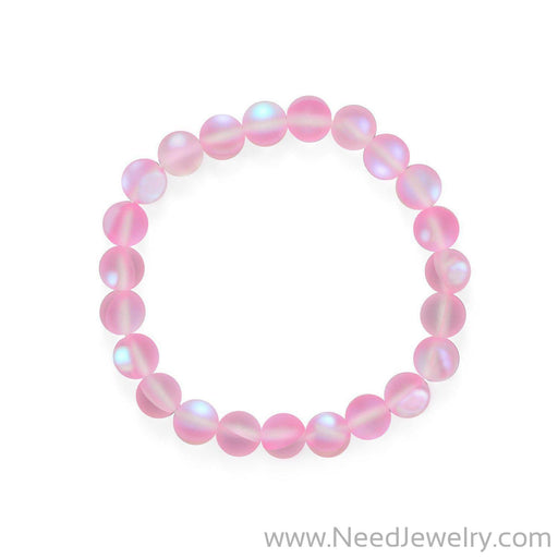 Think Pink! Iridescent Glass Stretch Bracelet-Bracelets-Needjewelry.com