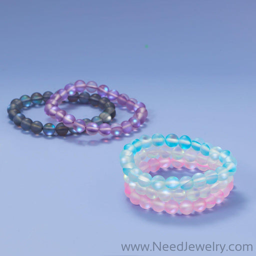 Ocean Wishes! Light Blue Glass Stretch Bracelet-Bracelets-Needjewelry.com