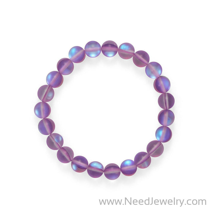 Fun! Orchid Color Stretch Glass Bracelet-Bracelets-Needjewelry.com