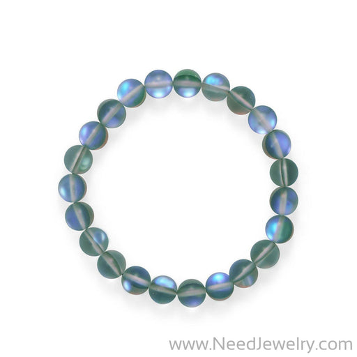 Mermaid At Heart! Grey Iridescent Stretch Bracelet-Bracelets-Needjewelry.com