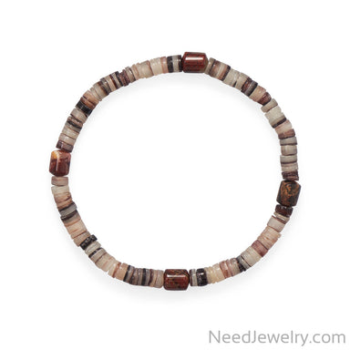 "Item # [sku} - 8"" Shell Heishi and Jasper Stretch Bracelet on NeedJewelry.com"