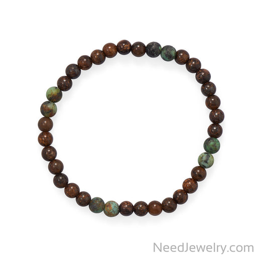 "Item # [sku} - 8"" Bronzite and African Turquoise Stretch Bracelet on NeedJewelry.com"