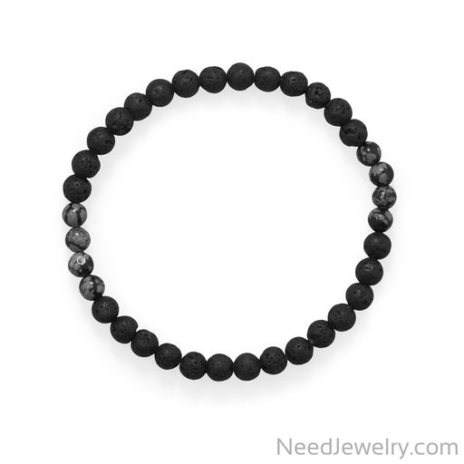 "Item # [sku} - 8"" Black Lava and Snowflake Obsidian Stretch Bracelet on NeedJewelry.com"