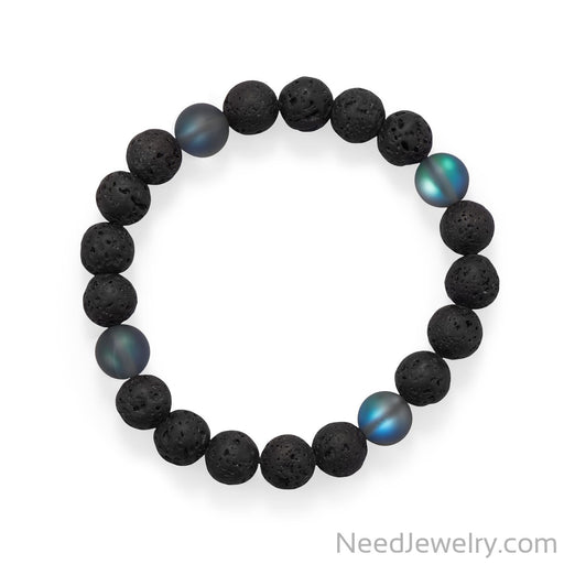 "Item # [sku} - 8"" Black Lava and Glass Bead Stretch Bracelet on NeedJewelry.com"