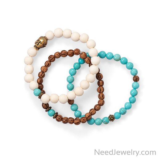 Item # [sku} - Wood and Magnesite Buddha Stretch Bracelet Set on NeedJewelry.com