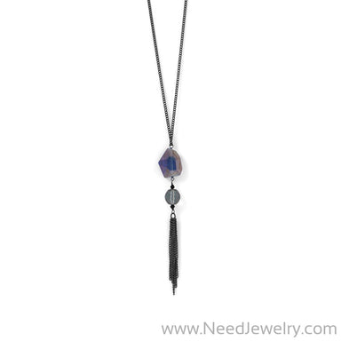 Black Plated Crystal and Tassel Drop Necklace-Necklaces-Needjewelry.com