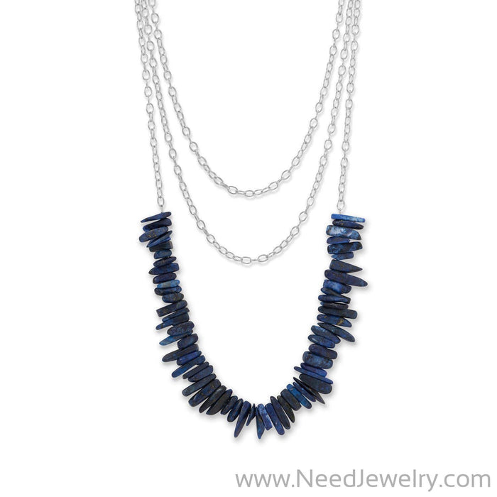 3 Strand Silver Tone Lapis Spike Necklace-Necklaces-Needjewelry.com