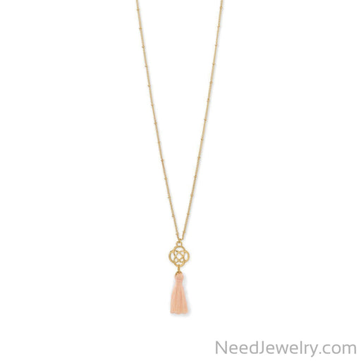 Gold Tone Celtic Charm and Peach Tassel Necklace-Necklaces-Needjewelry.com