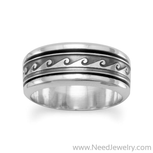 Wave Design Spin Ring-Rings-Needjewelry.com