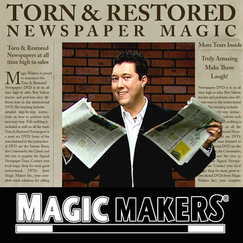 Torn & Restored Newspaper - MAGIC MAKERS DVD - Available at pipermagic.com.au