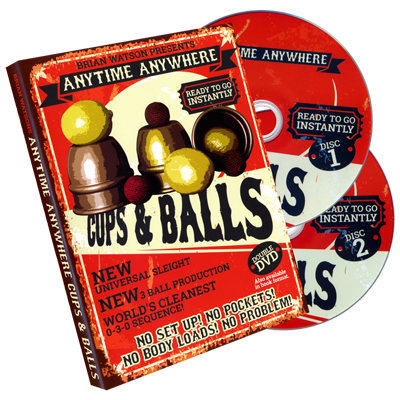 Anytime Anywhere Cups & Balls (2 DVD Set) by Brian Watson - DVD - Available at pipermagic.com.au