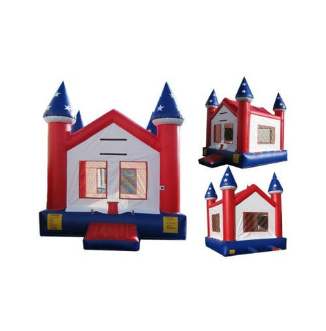 BLUE & WHITE CASTLE BOUNCE HOUSE