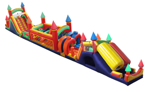 CASTLE OBSTACLE COURSE W/DOUBLE DECKER SLIDE