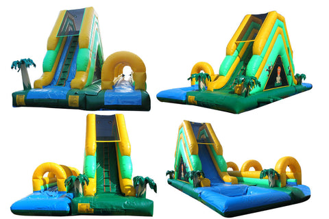 TROPICAL  REAR LOAD COMBO SLIP-N-SLIDE WATER SLIDE