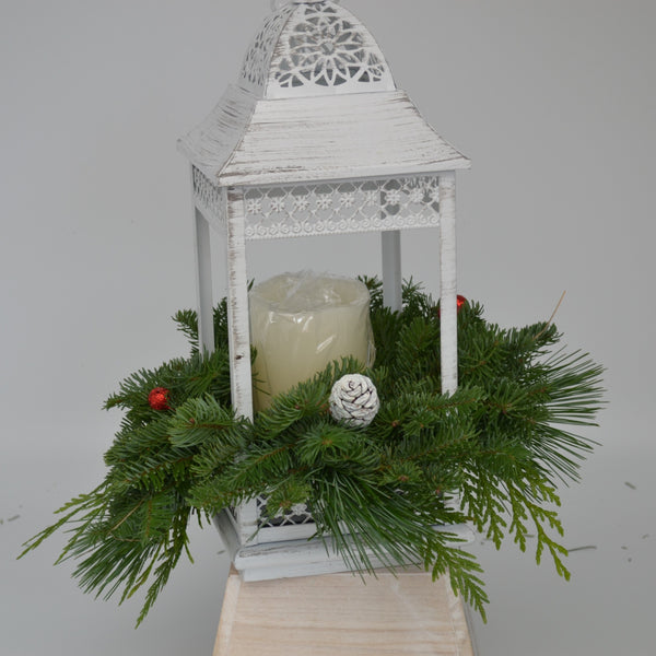 White Lantern W/LED Candle