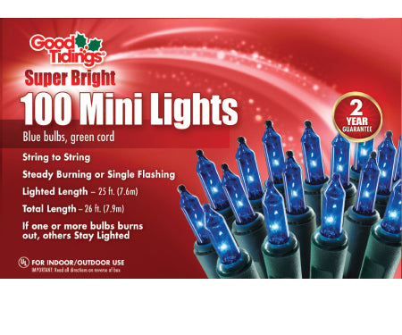 Good Tidings Super Bright 100 Mini Lights (Blue Lights with Green Wire)