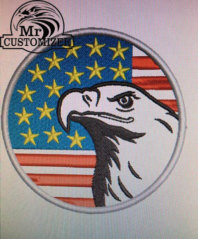 EAGLE AMERICAN FLAG IRON-ON EMBROIDERED PATCH USA PATRIOTIC