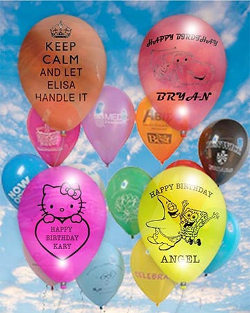 25 Personalized Custom Printed Balloons 12 inch