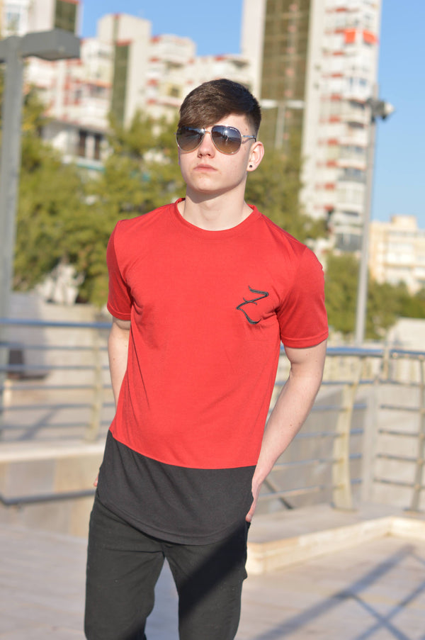 Double Panel T-Shirt - Red & Black