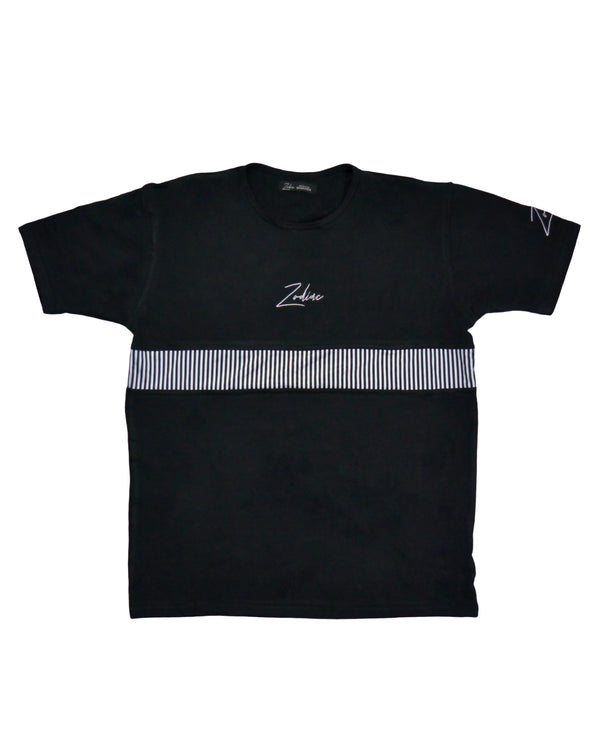 T-Shirt - Black/White Pinstripe