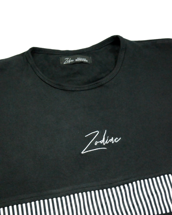 Pinstripe Panel T-Shirt - Black/White