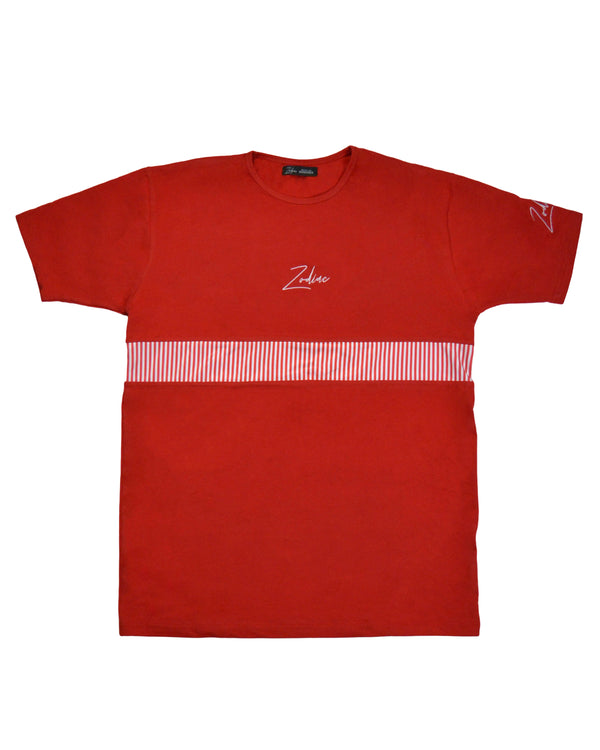 Pinstripe Panel T-Shirt - Red/White
