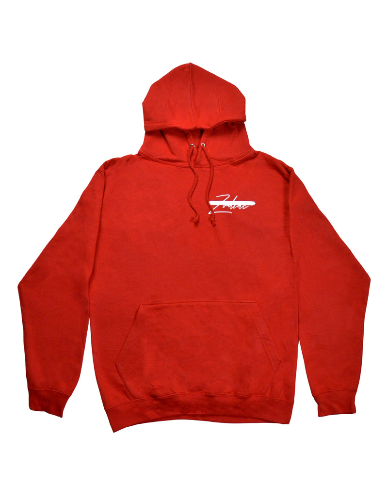 Signature Paint Stripe Logo Hoodie - Fire Red/White