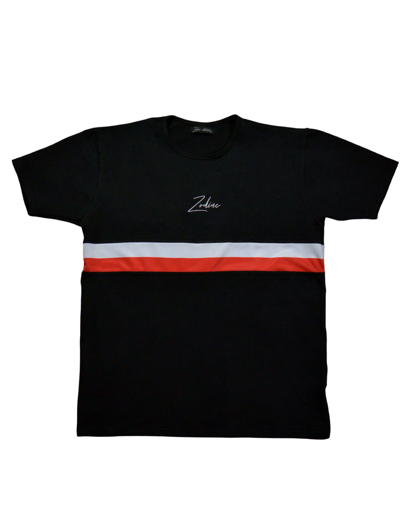 Double Striped T-Shirt - Black/Red/White