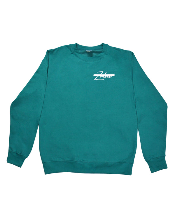 Signature Paint Stripe Logo Sweatshirt - Jade/White