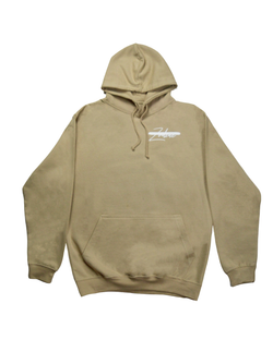 Signature Paint Stripe Logo Hoodie - Sand/White