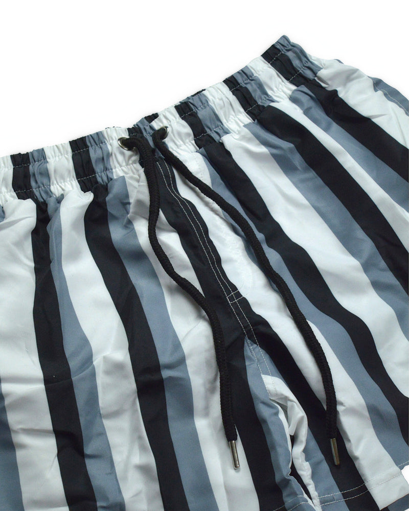 Pinstripe Swim Shorts - Black/White/Grey